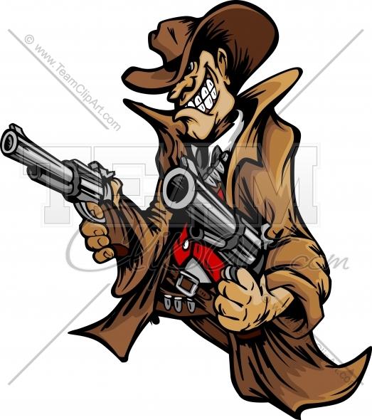 Gunfighter clipart jpg black and white library Gunslinger Clipart Clipart Cartoon Image. Vector Format. jpg black and white library