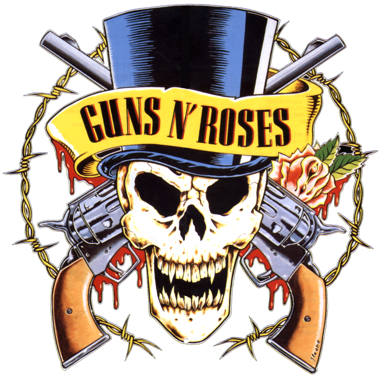 Guns and roses clipart graphic black and white Guns N\' Roses Logo transparent PNG - StickPNG graphic black and white