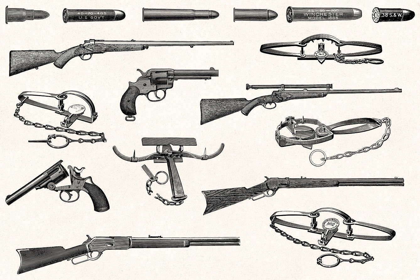 Guns in the 1800s clipart clip art free library Hunting - Vintage Illustrations adobe illustrator, paint ... clip art free library