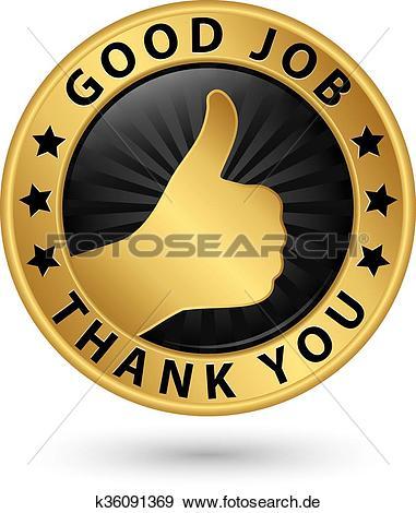 Gute arbeit clipart vector Clip Art - gute arbeit, danke, goldenes, etikett, mit, daumen ... vector