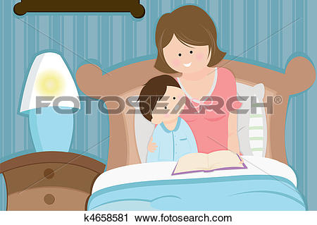 Gute nacht geschichte clipart jpg freeuse Clipart of Mother and son reading bedtime story k4658581 - Search ... jpg freeuse