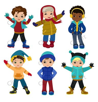 Guy in winter clothes clipart graphic library download Boys winter clothing clipart set from Sandydigitalart on ... graphic library download