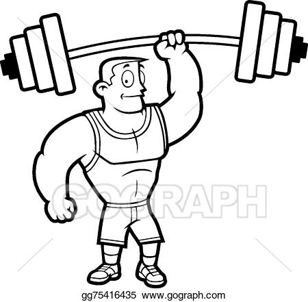 Hand lifting weights clipart black and white clipart freeuse Vector Art - Lifting weights. EPS clipart gg75416435 - GoGraph clipart freeuse