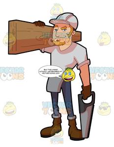 Guy trying to cut wood clipart black and white A Male Construction Worker Carrying A Slab Of Wood black and white