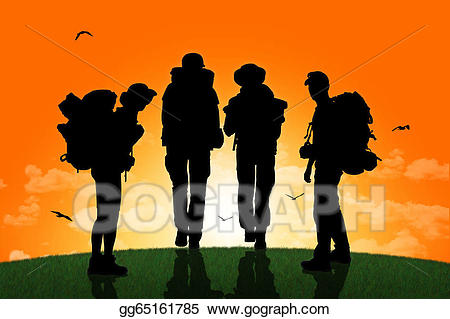 Guy walking up hill clipart clipart royalty free Stock Illustrations - Group of backpackers walking on a top of a ... clipart royalty free