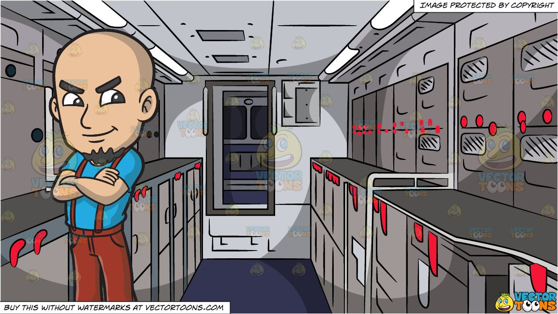 Guy with lock arms crossed smirk clipart vector transparent library A Proud Skinhead With His Arms Crossed and Empty Airplane Galley Background vector transparent library