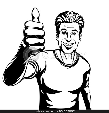 Guy with thumbs up clipart banner black and white stock Thumbs up guy clipart - ClipartFest banner black and white stock