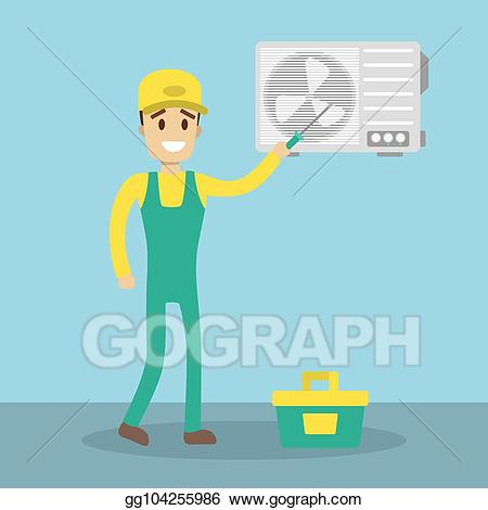 Guy working on air conditioner clipart sketch clipart royalty free stock Vector Art - Repair of conditioner. Clipart Drawing gg104255986 ... clipart royalty free stock
