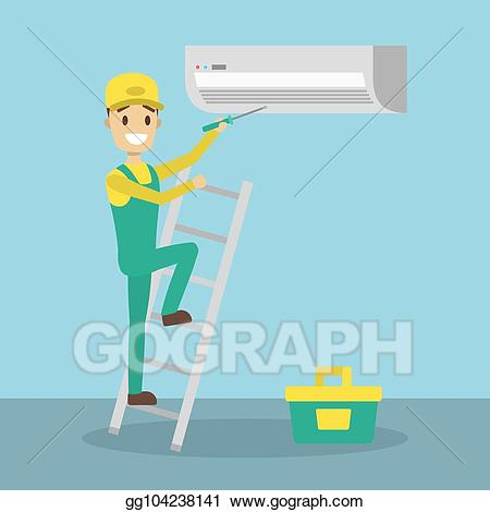 Guy working on air conditioner clipart sketch clip library library Vector Art - Repair of conditioner. Clipart Drawing gg104238141 ... clip library library