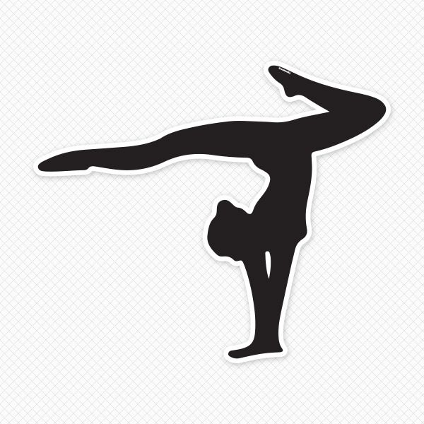 Gymnast outline clipart jpg black and white Solid Gymnast Restickable Silhouette | christmas present ... jpg black and white