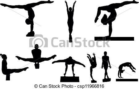 Gymnastics vector clipart graphic freeuse Vector - Gymnastics - stock illustration, royalty free illustrations ... graphic freeuse