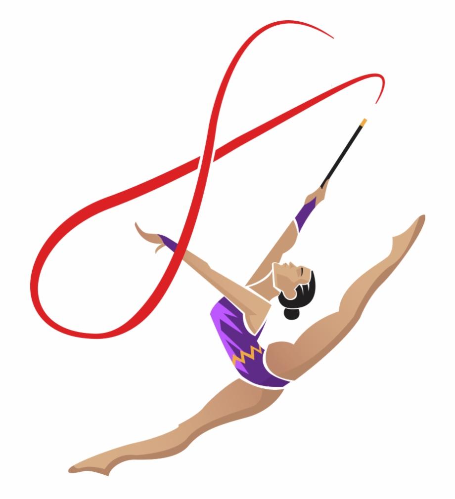 Gymnastics vector clipart clip black and white library Rhythmic Gymnastics Ribbon Png , Png Download - Rhythmic Gymnastics ... clip black and white library
