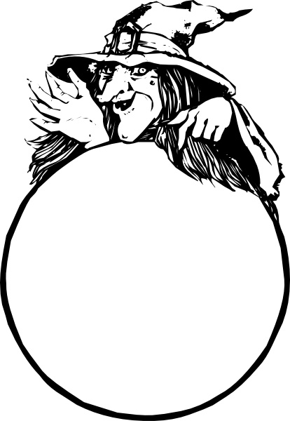 Gypsy and crystal ball clipart black and white vector transparent library Witch with crystal ball clip art free vector in open office ... vector transparent library