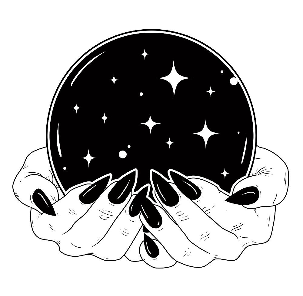 Gypsy and crystal ball clipart black and white vector transparent download Crystal Ball by Natasha Sines | Illustration in 2019 | Art, Drawings ... vector transparent download