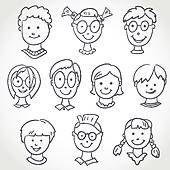 Haare kind clipart clip free stock Caricature Faces Collection Stock Photos - GoGraph clip free stock