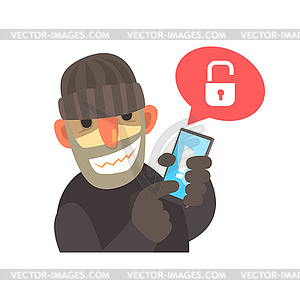 Hacked clipart picture transparent Smiling cartoon hacker holding hacked smartphone - vector clipart picture transparent