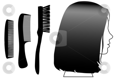 Hair comb over clipart black and white transparent library Hiny black hair female face profile & comb brush set stock vector transparent library