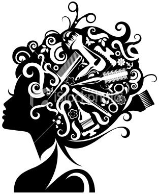 Hair comb over clipart black and white vector freeuse library Lady\'s silhouette with hairdressing accessories composed with her ... vector freeuse library