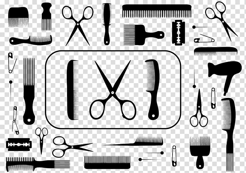 Hair icon clipart png royalty free library Hair clipper Comb Beauty Parlour, black and white hair icon ... png royalty free library