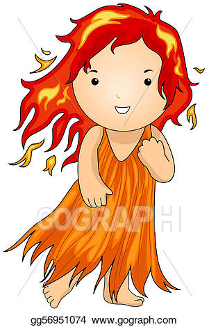 Hair on fire clipart black and white library Stock Illustration - Fire fairy. Clipart gg56951074 - GoGraph black and white library