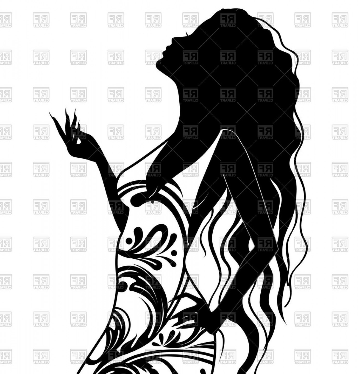 Hair silhouette clipart clip art library Silhouette Of Young Woman With Long Hair Vector Clipart | SOIDERGI clip art library