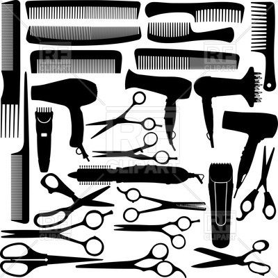 Hair stylist hand with scissors and comb clipart image freeuse Barber (hairdressing) salon equipment - hairdryer, scissors and comb ... image freeuse
