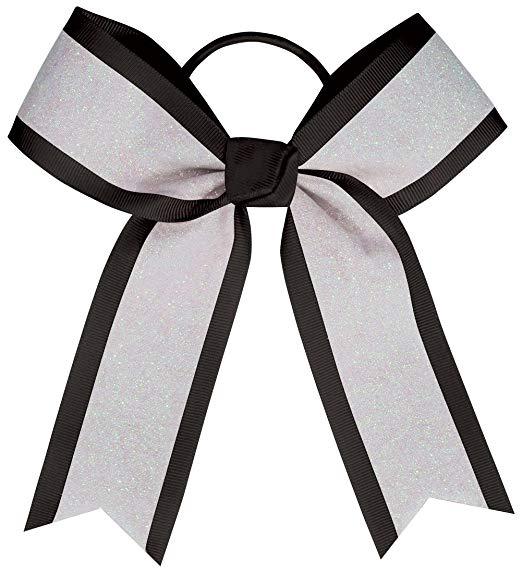 Hairbow clipart black and white long tail clipart black and white Chassé White Glitter Hair Bow clipart black and white