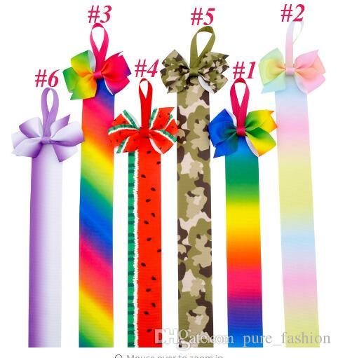 Hairbow clipart black and white long tail graphic freeuse Fashion High Quality Hairbow With Long Tail Rainbow Ribbon Hair Bows holder  For Teens Girls Accessories Children Printed Bows Holders 10pcs/ graphic freeuse