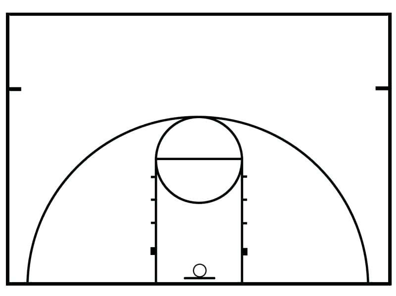 Half court shot black and white clipart picture transparent download Collection of Basketball court clipart | Free download best ... picture transparent download