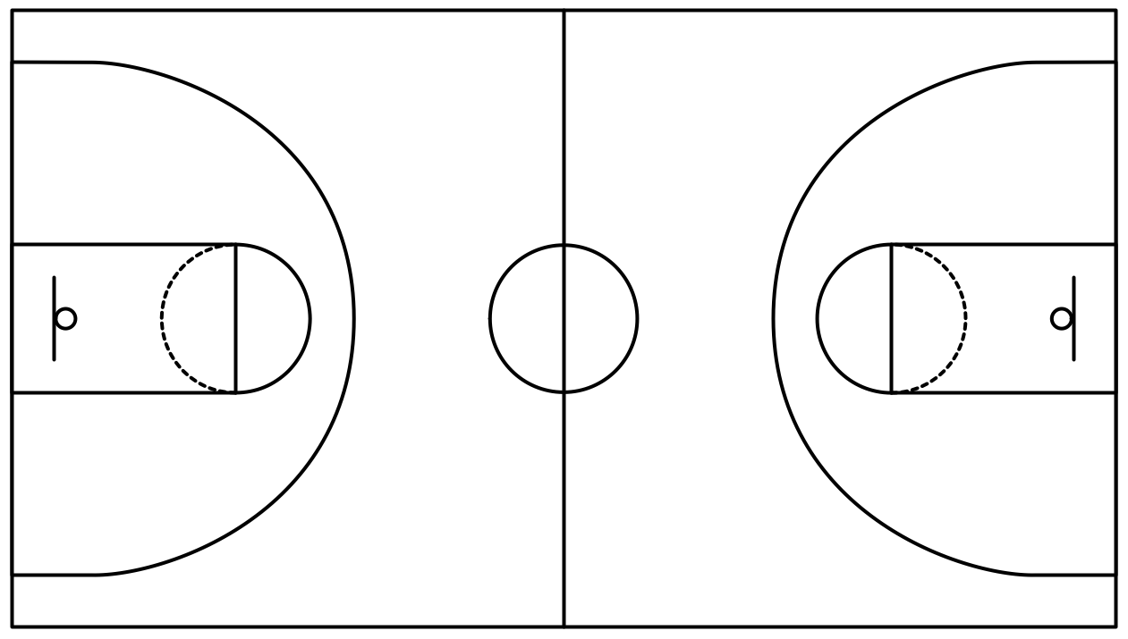 Half court shot black and white clipart black and white Basketball goal, free throw line, bench, half court line - ThingLink ... black and white