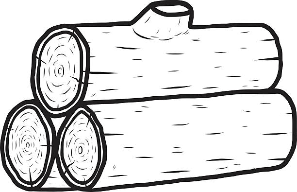 Half of a log clipart black and white image transparent Wood Log Clipart Black And White image transparent