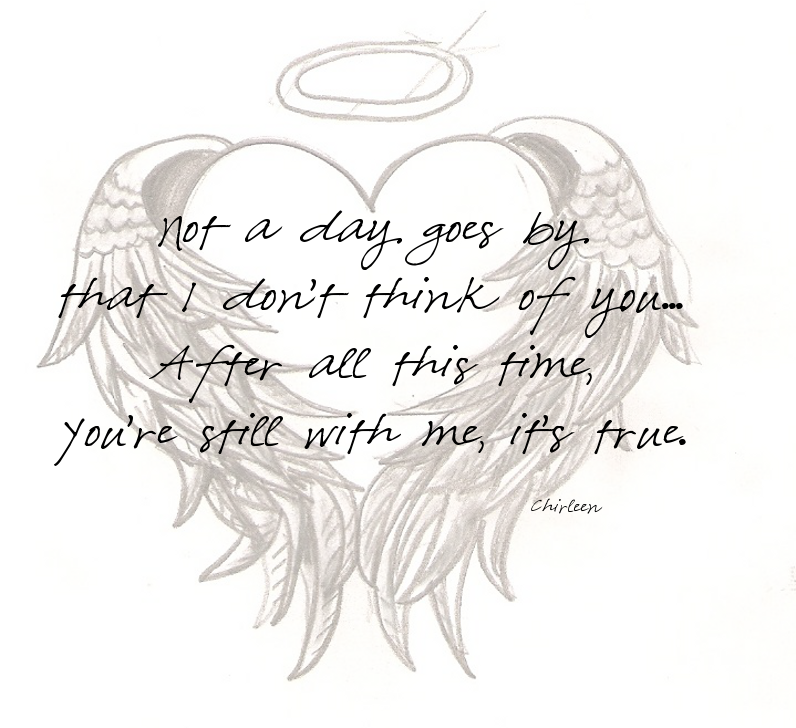 Half of my heart is in heaven with my angel clipart image black and white stock Hearts With Ribbons And Wings Drawings | zoominmedical.com | Crosses ... image black and white stock