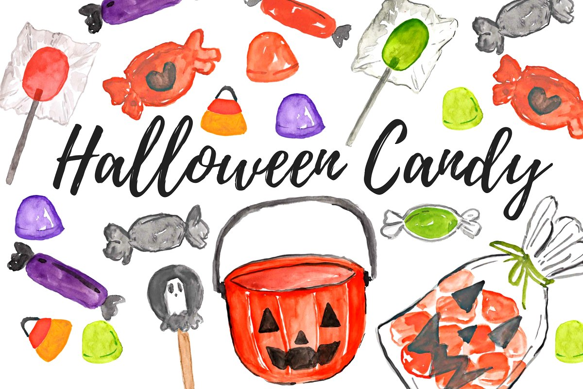 Halloweed fun and food clipart png download Watercolor Halloween Candy Clipart png download
