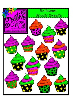 Halloweed fun and food clipart freeuse Halloween Spooky Sweet Cupcakes {Creative Clips Digital Clipart} freeuse