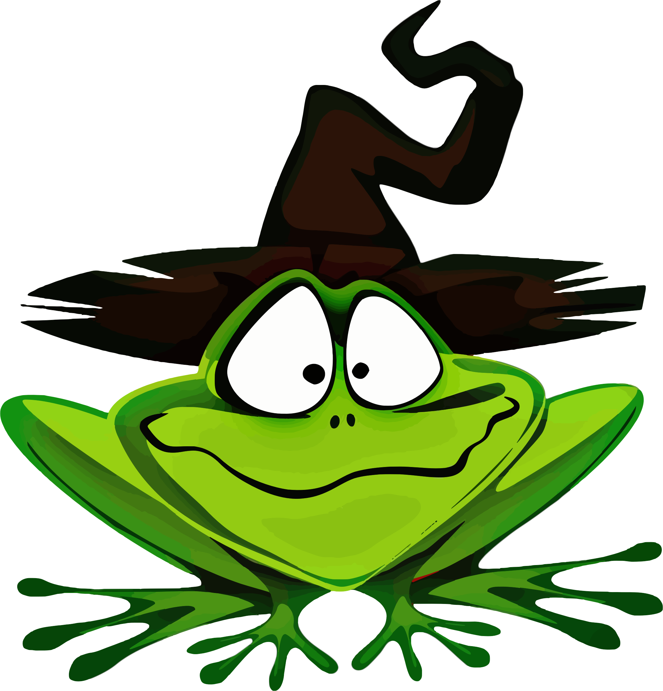 Halloween animal clipart svg transparent library Clipart - Frog Wearing Witch's Hat svg transparent library