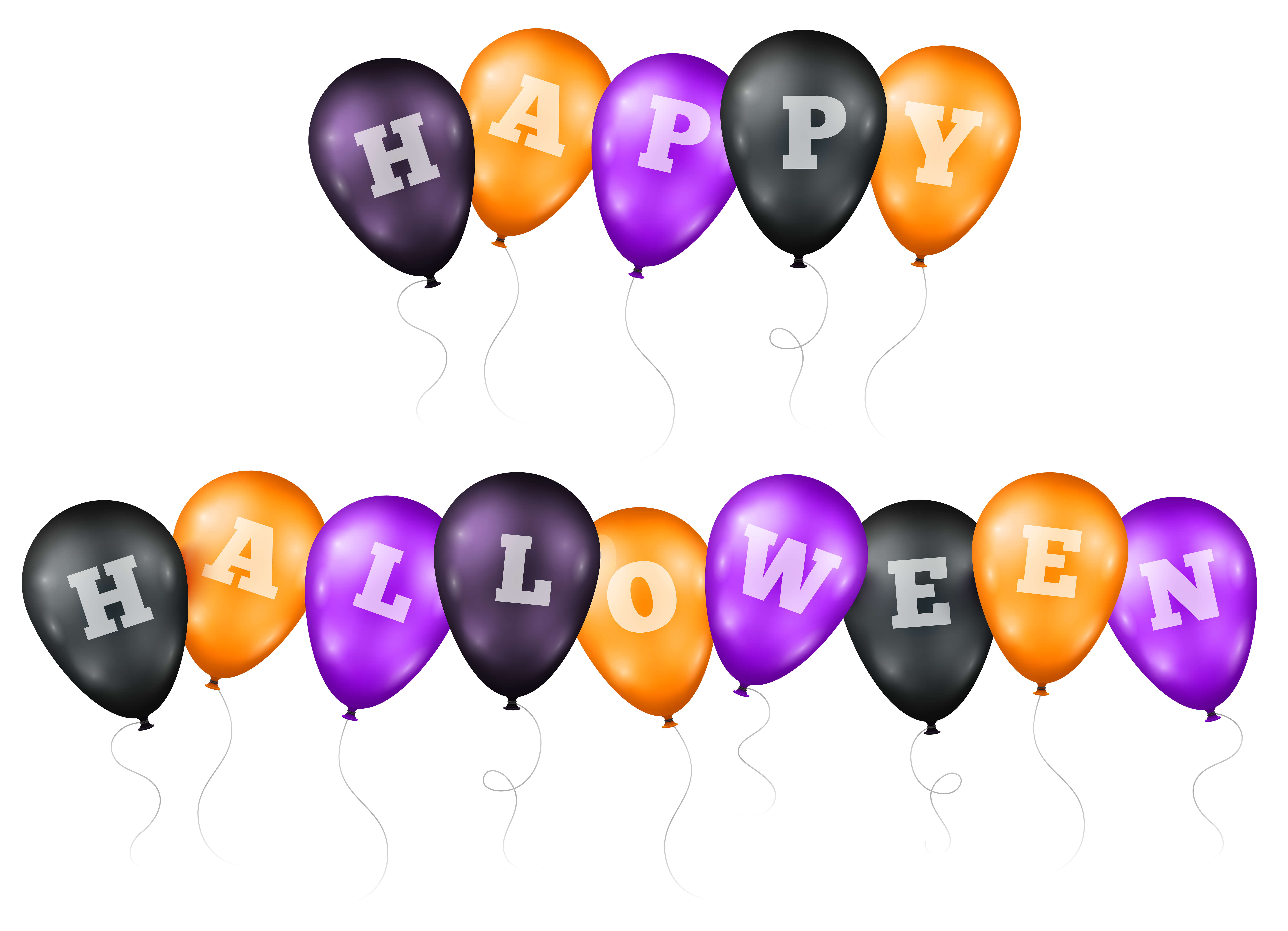 Happy halloween word clipart png freeuse stock Happy Halloween Balloons Transparent PNG Clip Art Image | Gallery ... png freeuse stock