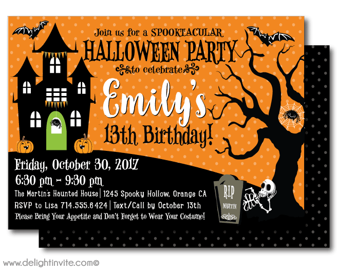 Halloween bash clipart picture free Halloween Birthday Party Invitations - Websolutionvilla.Com picture free