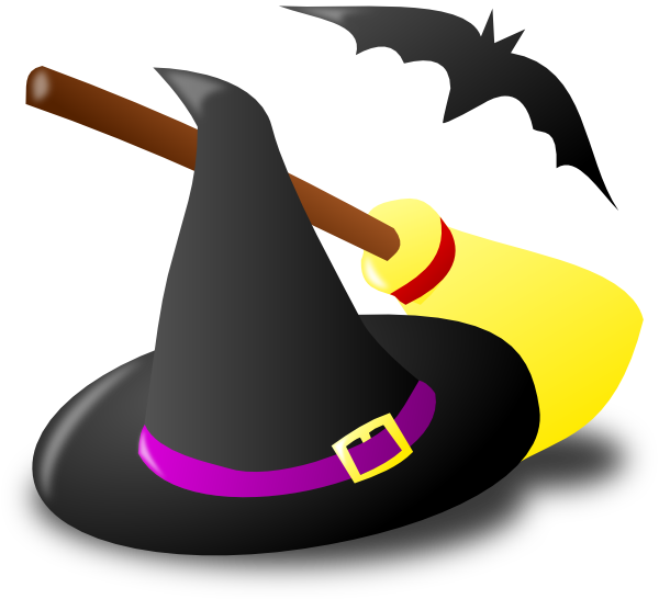 Halloween broom clipart picture black and white library Witch Hat Broom Bat Clip Art at Clker.com - vector clip art online ... picture black and white library