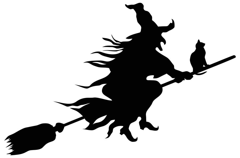 Halloween broom clipart transparent download OnlineLabels Clip Art - Witch Flying Broom Silhouette transparent download