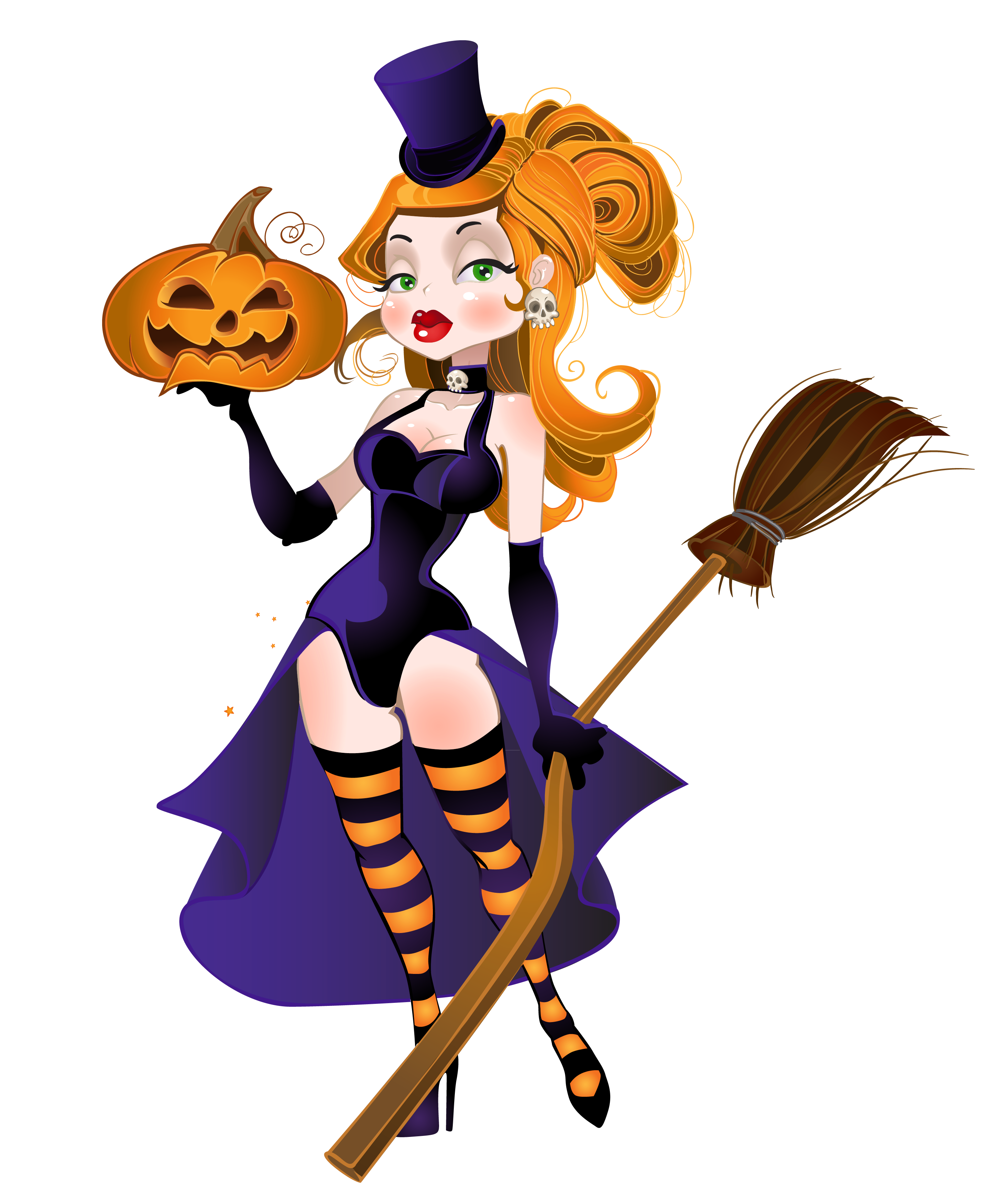 Halloween broom clipart picture transparent Halloween Witch with Broom and Pumpkin PNG Clipart   Gallery ... picture transparent
