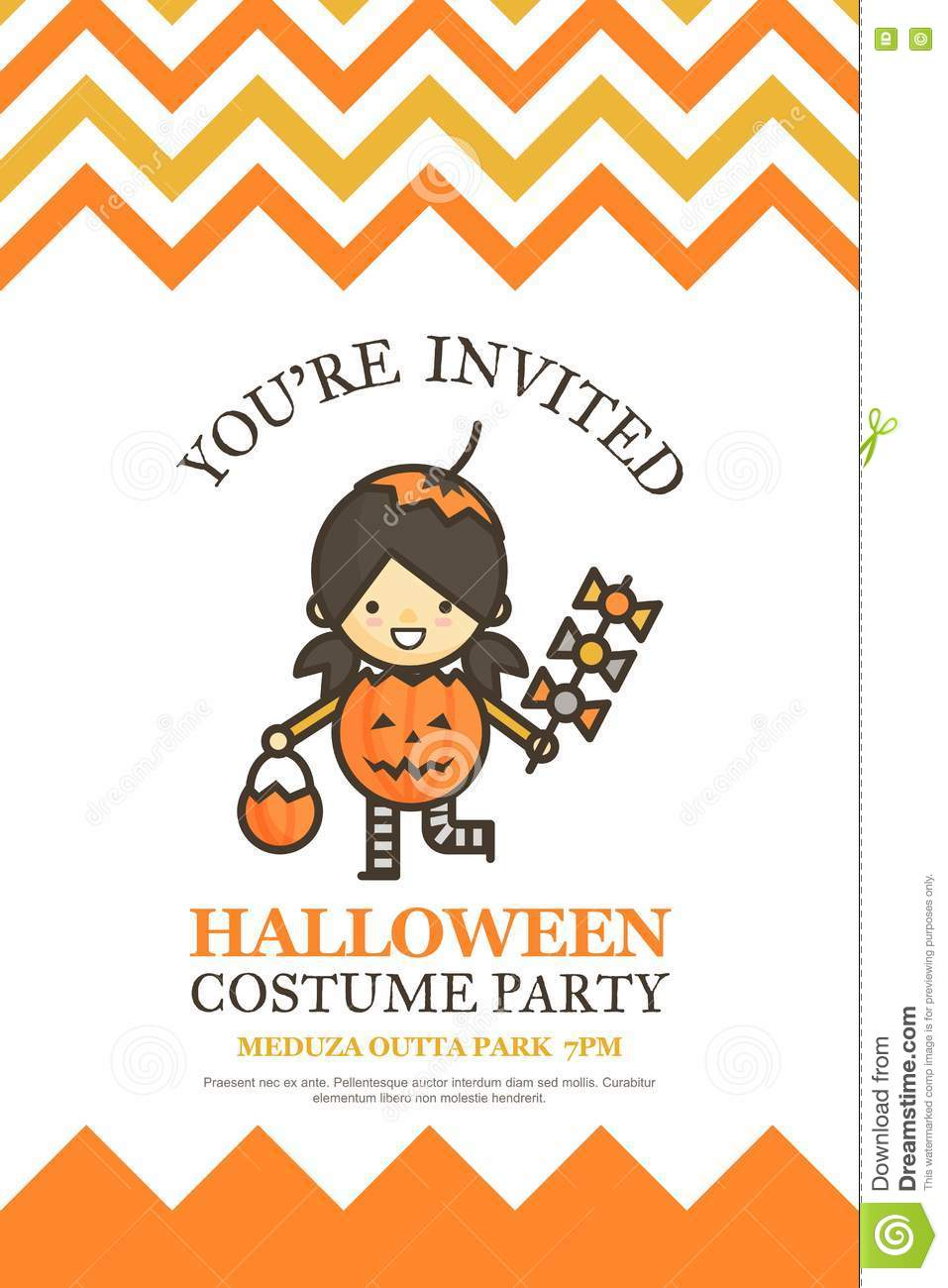 Halloween character pumpkin girl clipart banner transparent library Pumpkin Girl Halloween Invitation Card For Costume Night Party C ... banner transparent library