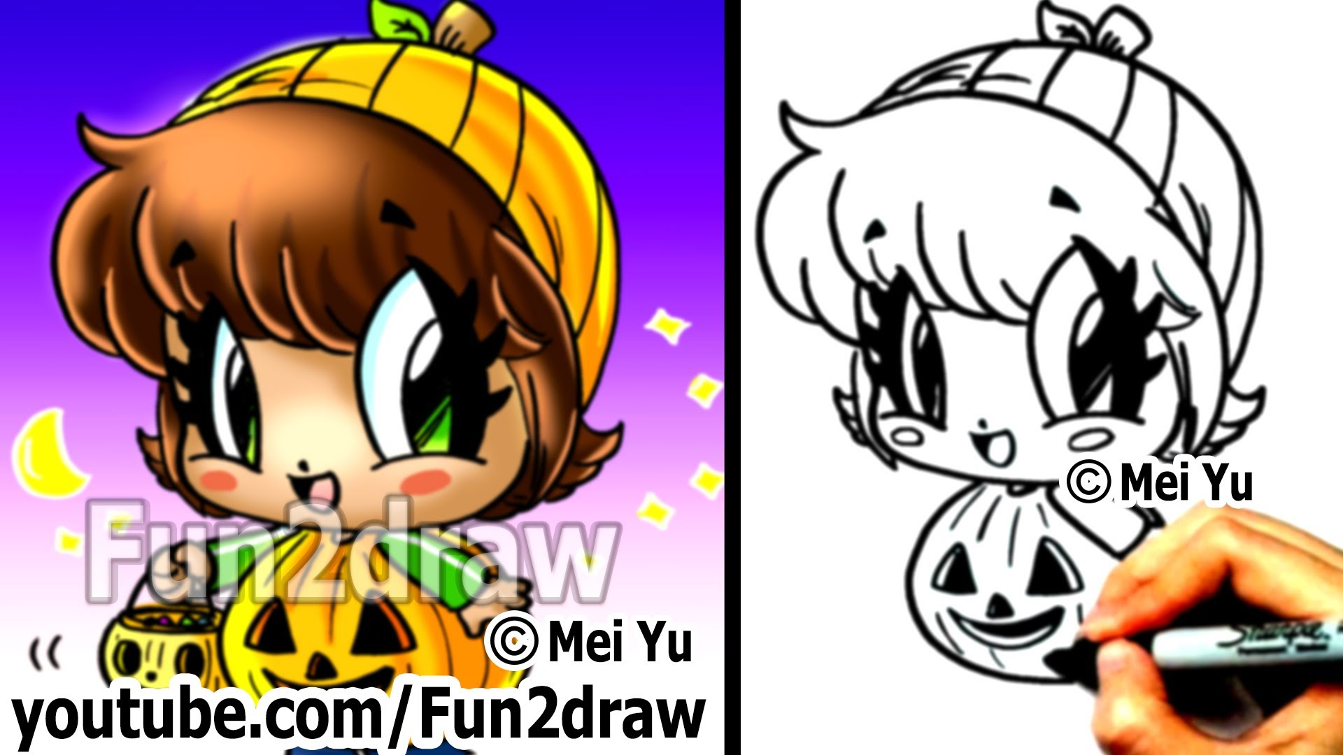 Halloween character pumpkin girl clipart image royalty free library How to Draw Halloween Characters - Pumpkin Girl - Draw People ... image royalty free library
