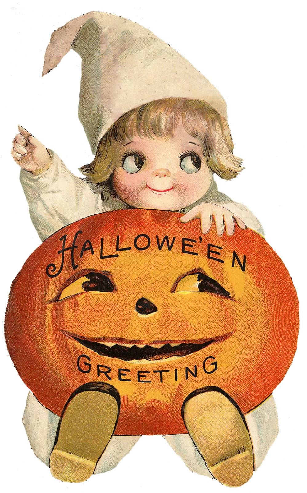 Halloween character pumpkin girl clipart freeuse stock Vintage Halloween Clip Art - Googly Eye Pumpkin Girl - The ... freeuse stock