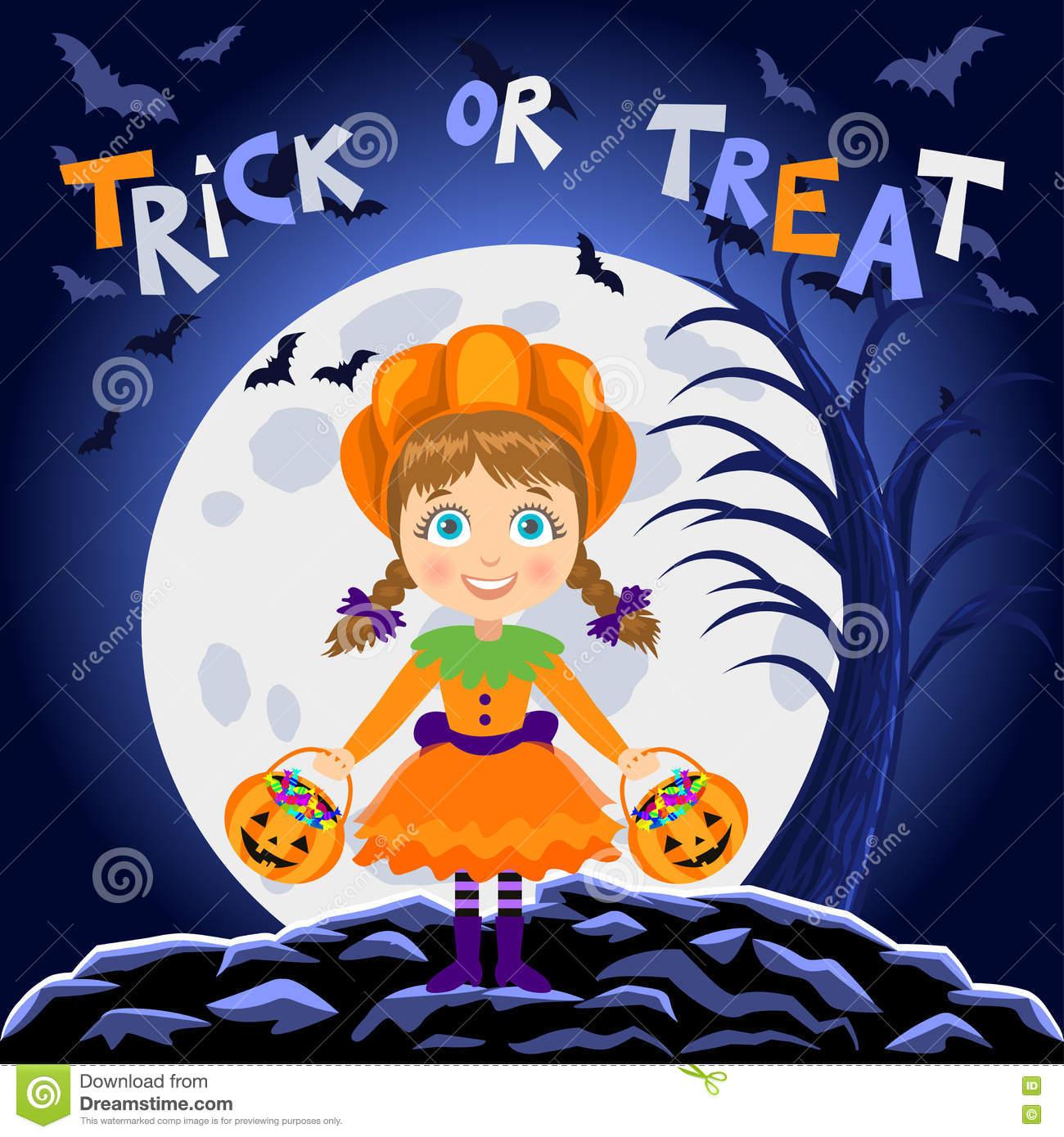 Halloween character pumpkin girl clipart vector library stock Happy Halloween. Girl In Halloween Costume. Pumpkin Girl Stock ... vector library stock