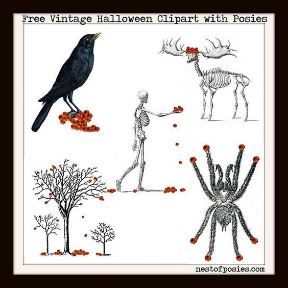 Halloween clipart printables clipart free stock Free Halloween clipart printables with orange posies. Vintage ... clipart free stock