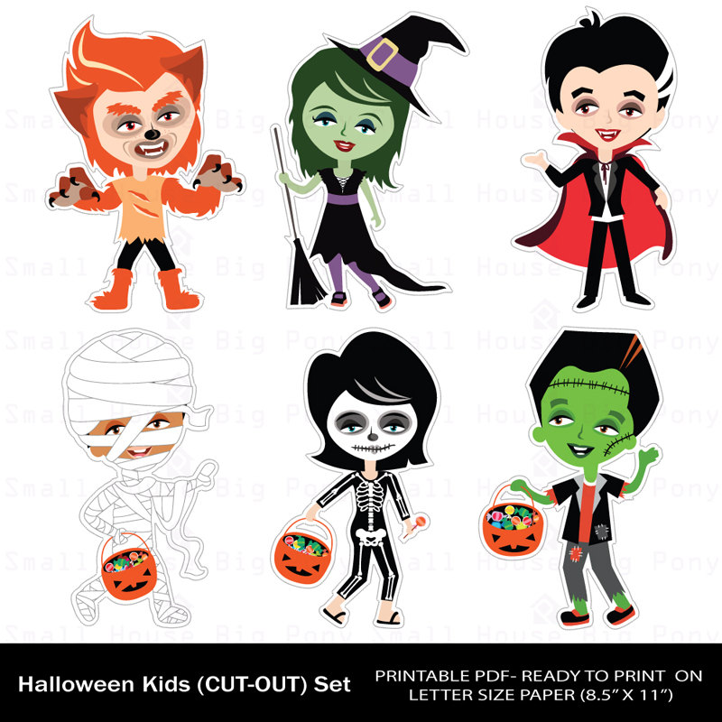 Halloween clipart printables png black and white library Halloween Clip art, Clipart , Printable Cut-Outs, Halloween Kids ... png black and white library