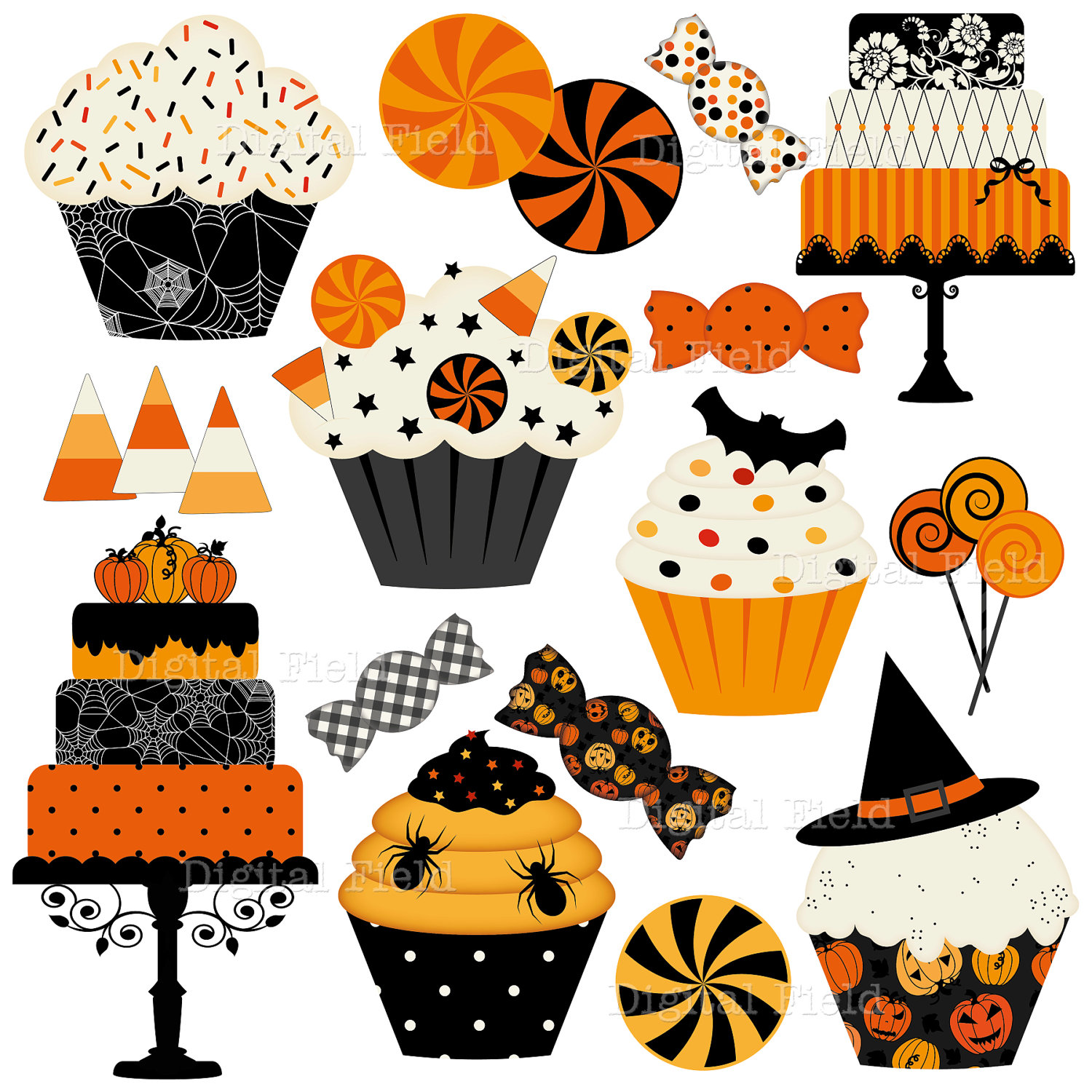 Halloween clipart printables png royalty free stock Halloween Cakes, Cupcakes and Candies Clip Art Set - Halloween ... png royalty free stock