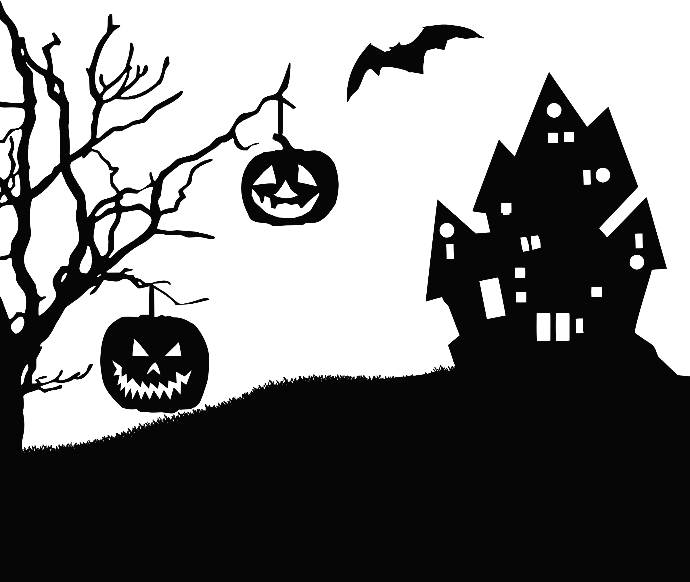 Halloween clipart silhouette clip stock Clipart - Halloween Landscape Silhouette clip stock