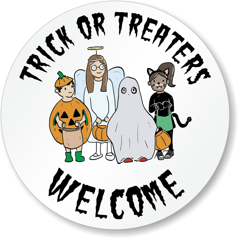 Halloween clipart trick or treaters clip art royalty free download Trick Or Treaters Welcome Circular Decal, SKU - LB-2846 clip art royalty free download