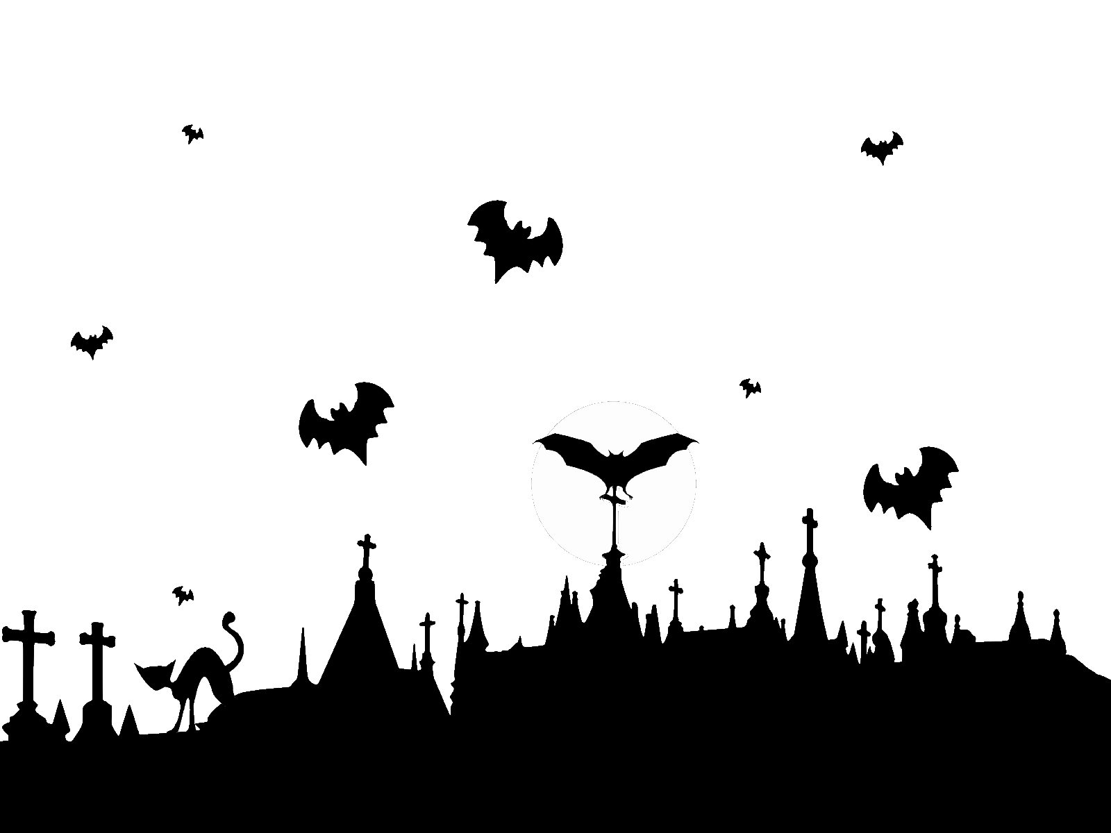 Halloween flying bats clipart graphic library Graveyard and Flying Bats transparent PNG - StickPNG graphic library
